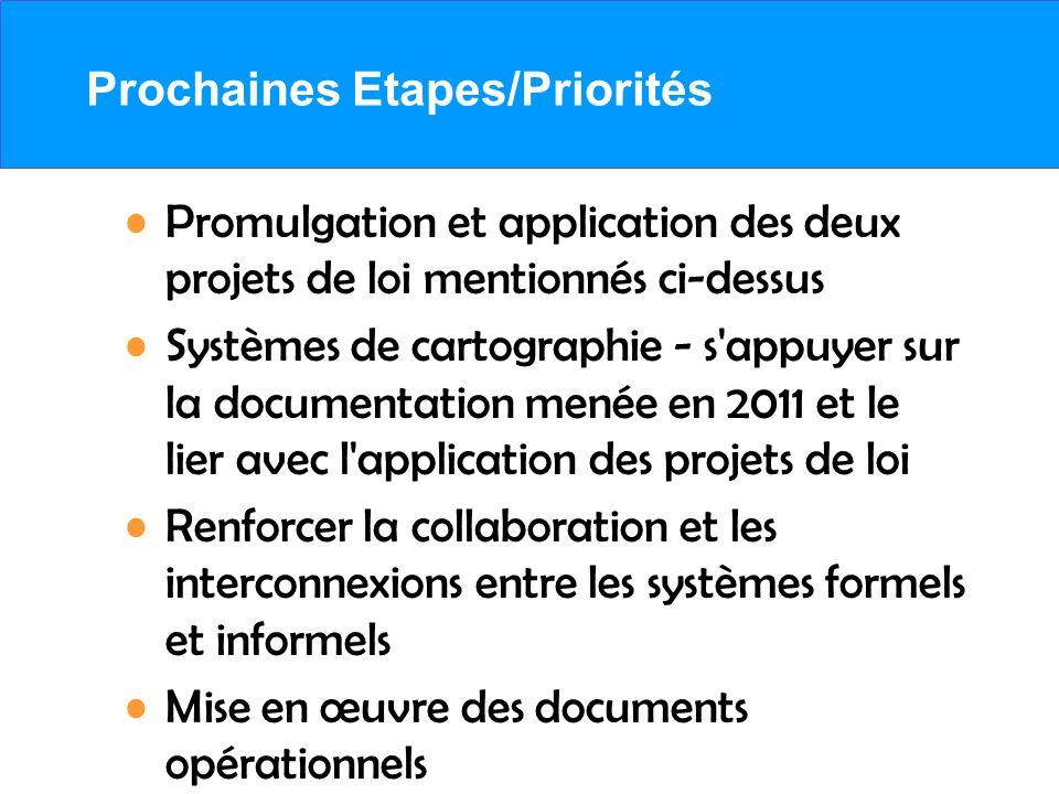 Prochaines Etapes/Priorités Promulgation et application des deux projets de loi mentionnés ci-dessus Systèmes de cartographie - s'appuyer sur la docum