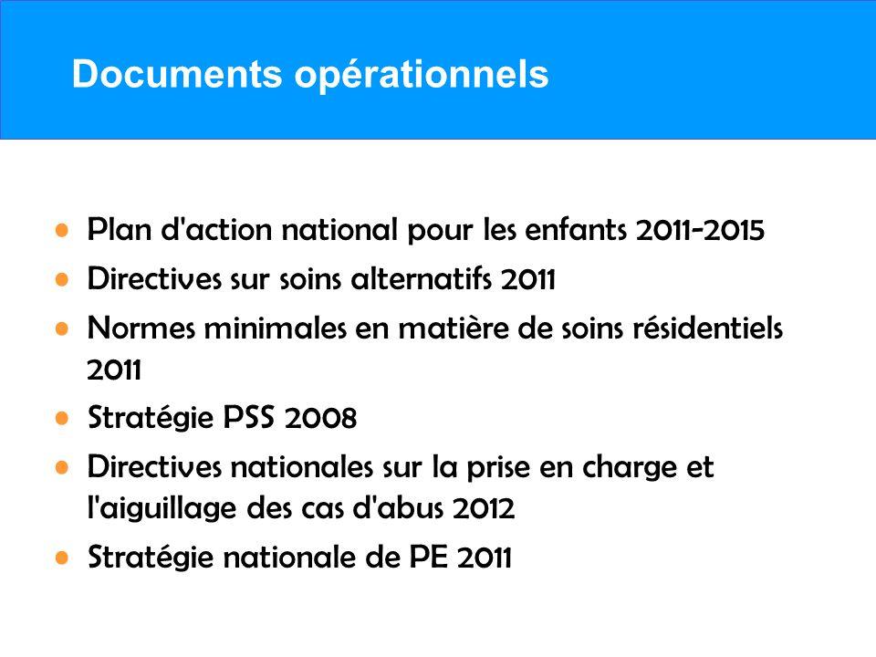 Documents opérationnels Plan d'action national pour les enfants 2011-2015 Directives sur soins alternatifs 2011 Normes minimales en matière de soins r