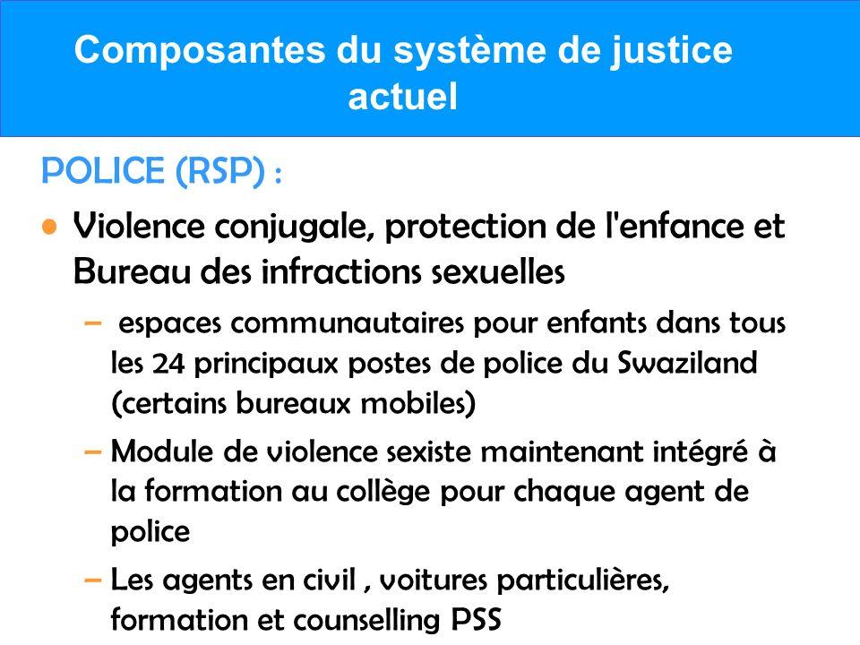 Composantes du système de justice actuel POLICE (RSP) : Violence conjugale, protection de l'enfance et Bureau des infractions sexuelles – espaces comm