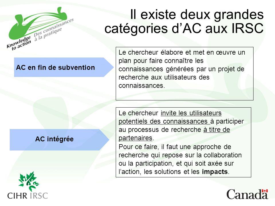 Il existe deux grandes catégories dAC aux IRSC AC en fin de subvention AC intégrée Le chercheur élabore et met en œuvre un plan pour faire connaître les connaissances générées par un projet de recherche aux utilisateurs des connaissances.
