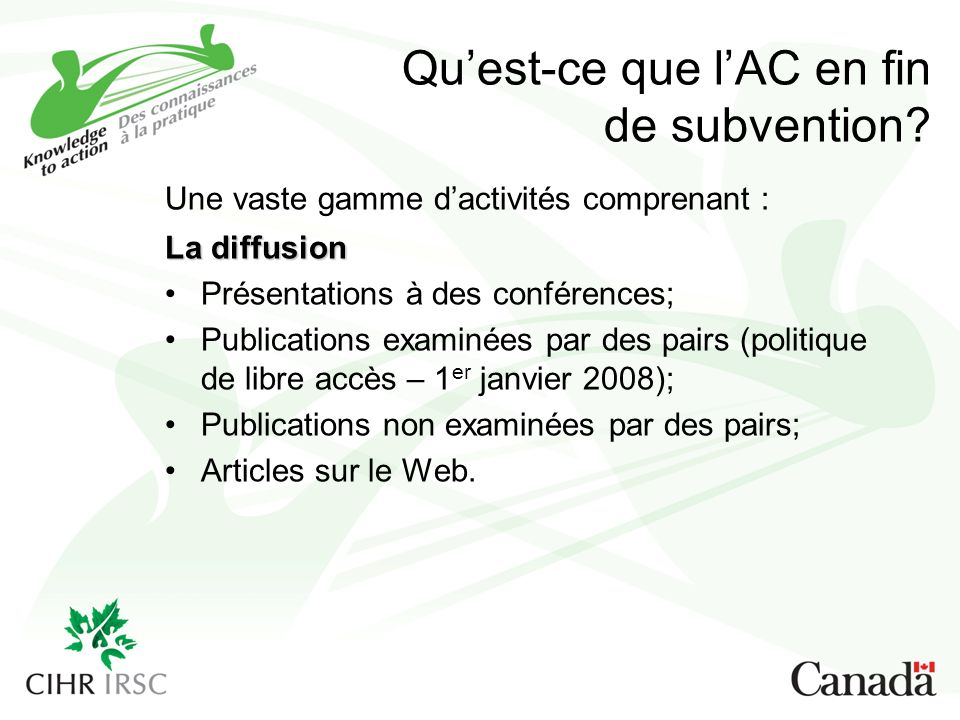 Quest-ce que lAC en fin de subvention.