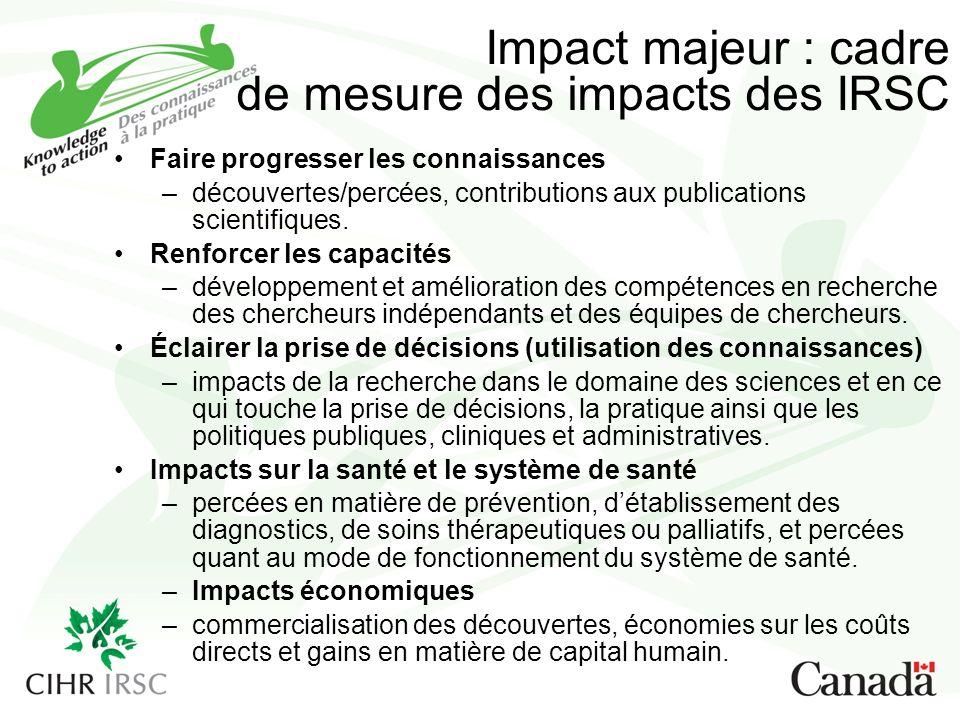 Impact majeur : cadre de mesure des impacts des IRSC Faire progresser les connaissances –découvertes/percées, contributions aux publications scientifiques.