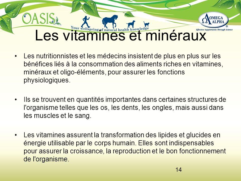 Les vitamines et minéraux Les nutritionnistes et les médecins insistent de plus en plus sur les bénéfices liés à la consommation des aliments riches e