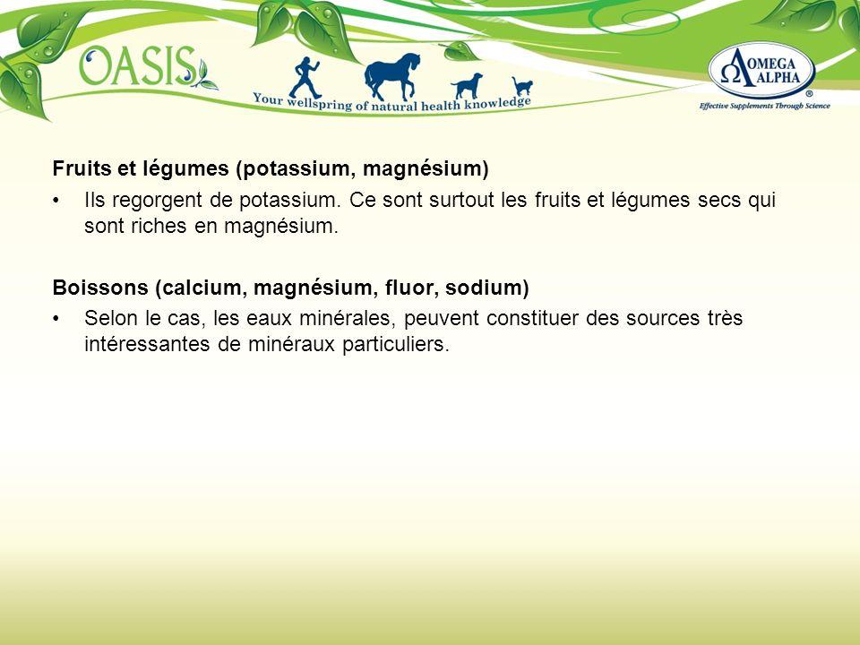 Fruits et légumes (potassium, magnésium) Ils regorgent de potassium. Ce sont surtout les fruits et légumes secs qui sont riches en magnésium. Boissons