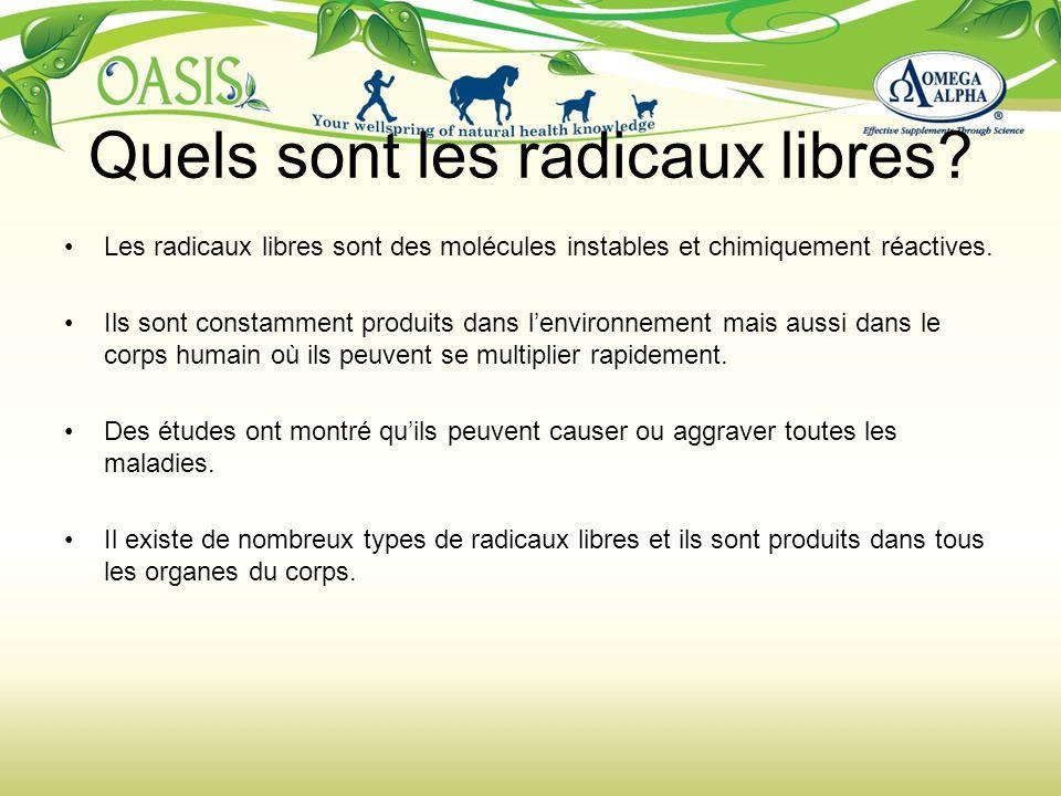 Quels sont les radicaux libres? Les radicaux libres sont des molécules instables et chimiquement réactives. Ils sont constamment produits dans lenviro