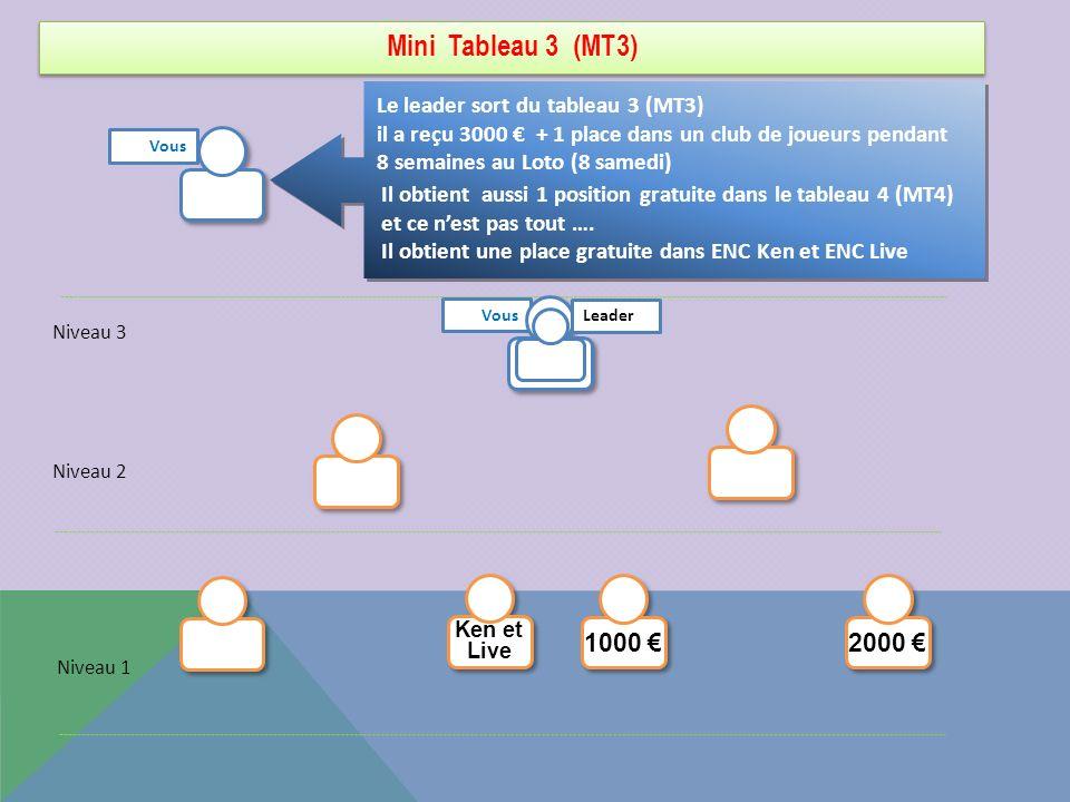 Mini Tableau 3 (MT3) Le leader sort du tableau 3 (MT3) il a reçu 3000 + 1 place dans un club de joueurs pendant 8 semaines au Loto (8 samedi) Niveau 3