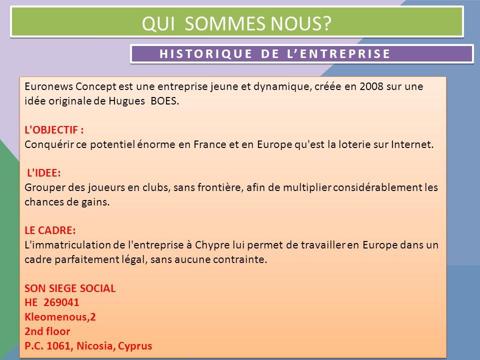 HISTORIQUE DE LENTREPRISE SUITE LES PREMIERS PAS Phase 1 (2008) : L entreprise choisit pour base l Euro millions de La Française des Jeux.