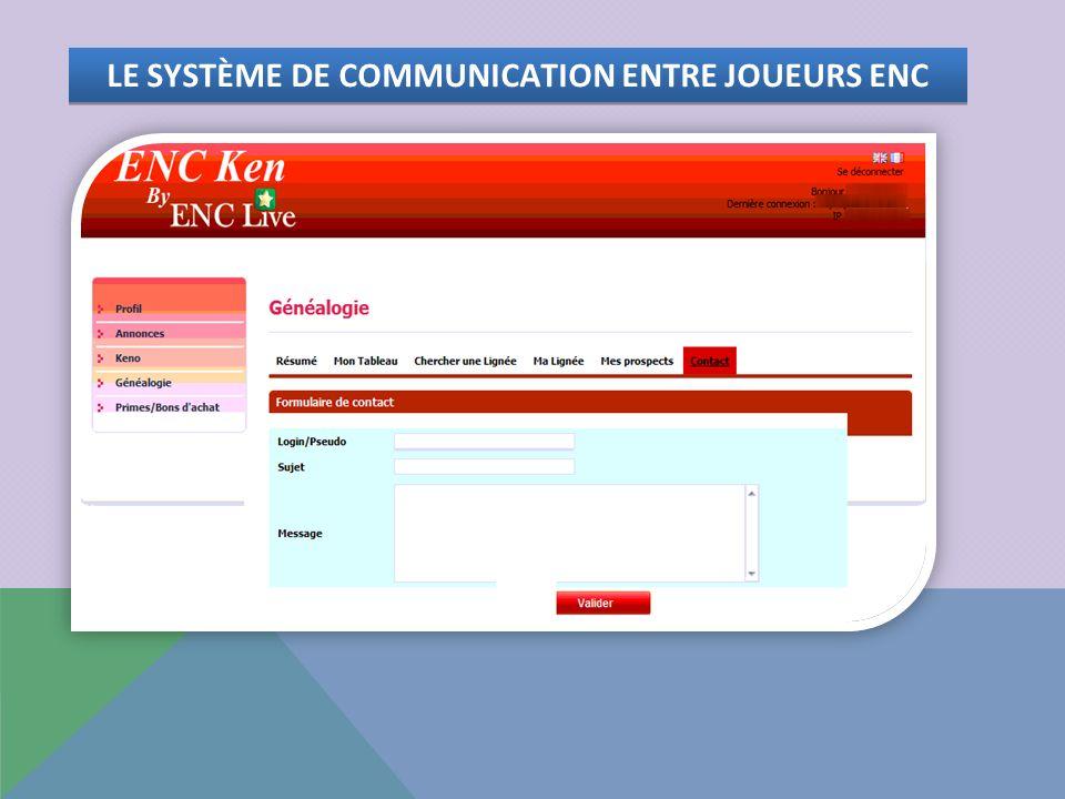 LE SYSTÈME DE COMMUNICATION ENTRE JOUEURS ENC