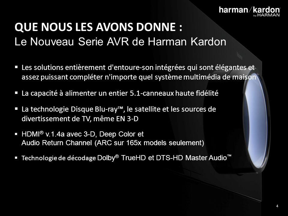 4 QUE NOUS LES AVONS DONNE : Le Nouveau Serie AVR de Harman Kardon Les solutions entièrement d entoure-son intégrées qui sont élégantes et assez puissant compléter n importe quel système multimédia de maison La capacité à alimenter un entier 5.1-canneaux haute fidélité La technologie Disque Blu-ray, le satellite et les sources de divertissement de TV, même EN 3-D HDMI ® v.1.4a avec 3-D, Deep Color et Audio Return Channel (ARC sur 165x models seulement) Technologie de décodage Dolby ® TrueHD et DTS-HD Master Audio