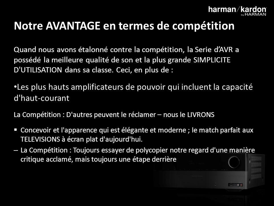 8 Notre AVANTAGE en termes de compétition Quand nous avons étalonné contre la compétition, la Serie dAVR a possédé la meilleure qualité de son et la plus grande SIMPLICITE D UTILISATION dans sa classe.