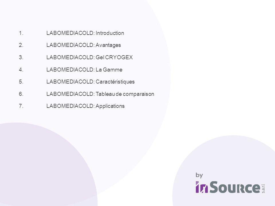 1.LABOMEDIACOLD: Introduction 2.LABOMEDIACOLD: Avantages 3.LABOMEDIACOLD: Gel CRYOGEX 4.LABOMEDIACOLD: La Gamme 5.LABOMEDIACOLD: Caractéristiques 6.LA