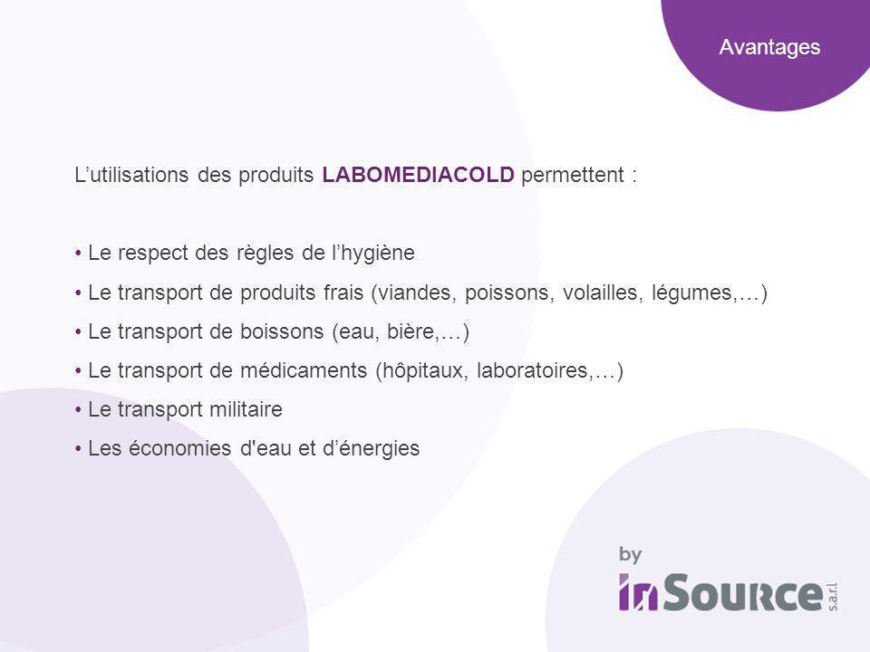 Lutilisations des produits LABOMEDIACOLD permettent : Le respect des règles de lhygiène Le transport de produits frais (viandes, poissons, volailles,