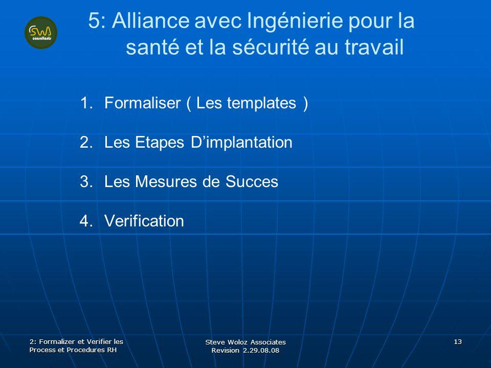 Steve Woloz Associates Revision 2.29.08.08 13 5: Alliance avec Ingénierie pour la santé et la sécurité au travail 1. 1.Formaliser ( Les templates ) 2.