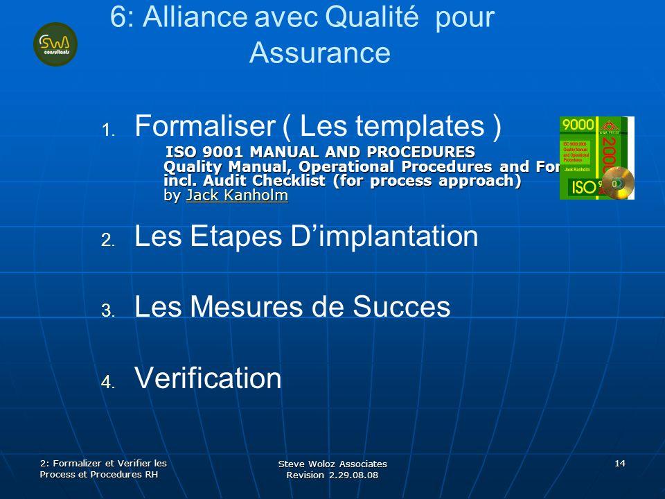 Steve Woloz Associates Revision 2.29.08.08 14 6: Alliance avec Qualité pour Assurance 1. 1. Formaliser ( Les templates ) ISO 9001 MANUAL AND PROCEDURE