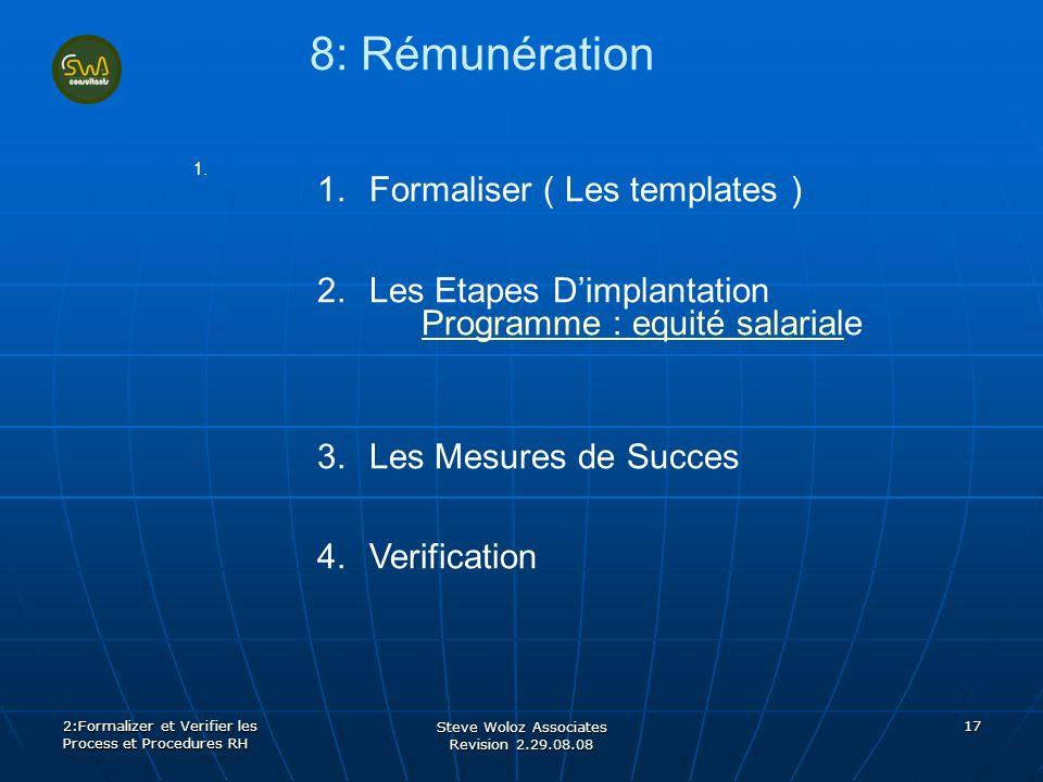 Steve Woloz Associates Revision 2.29.08.08 17 8: Rémunération 1. 2:Formalizer et Verifier les Process et Procedures RH 1.Formaliser ( Les templates )