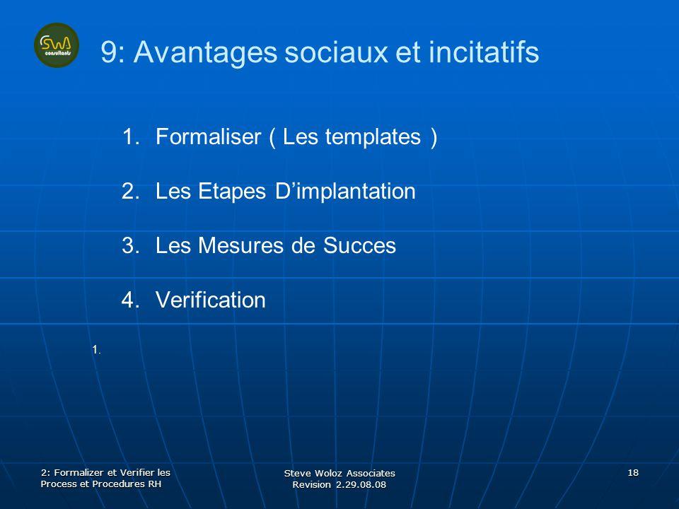 Steve Woloz Associates Revision 2.29.08.08 18 9: Avantages sociaux et incitatifs 1. 1.Formaliser ( Les templates ) 2. 2.Les Etapes Dimplantation 3. 3.