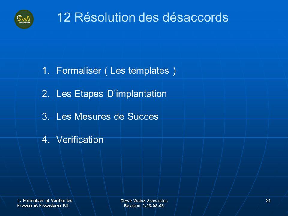 Steve Woloz Associates Revision 2.29.08.08 21 12 Résolution des désaccords 1. 1.Formaliser ( Les templates ) 2. 2.Les Etapes Dimplantation 3. 3.Les Me