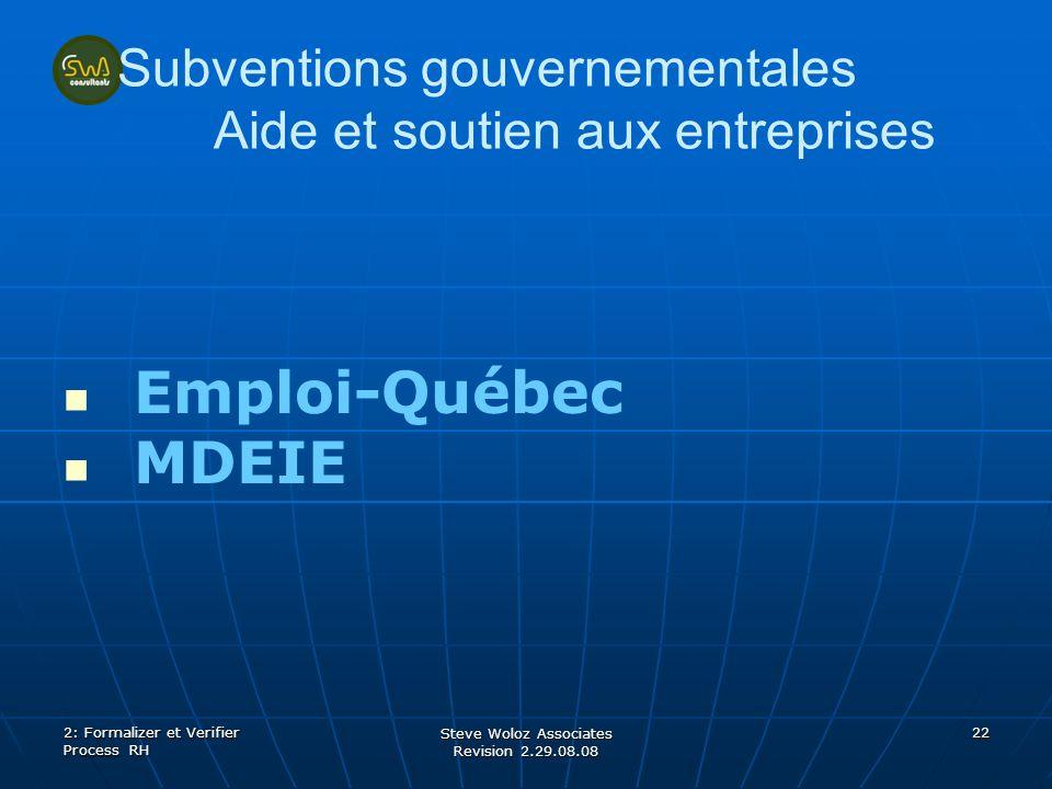 Steve Woloz Associates Revision 2.29.08.08 22 Subventions gouvernementales Aide et soutien aux entreprises Emploi-Québec MDEIE 2: Formalizer et Verifi
