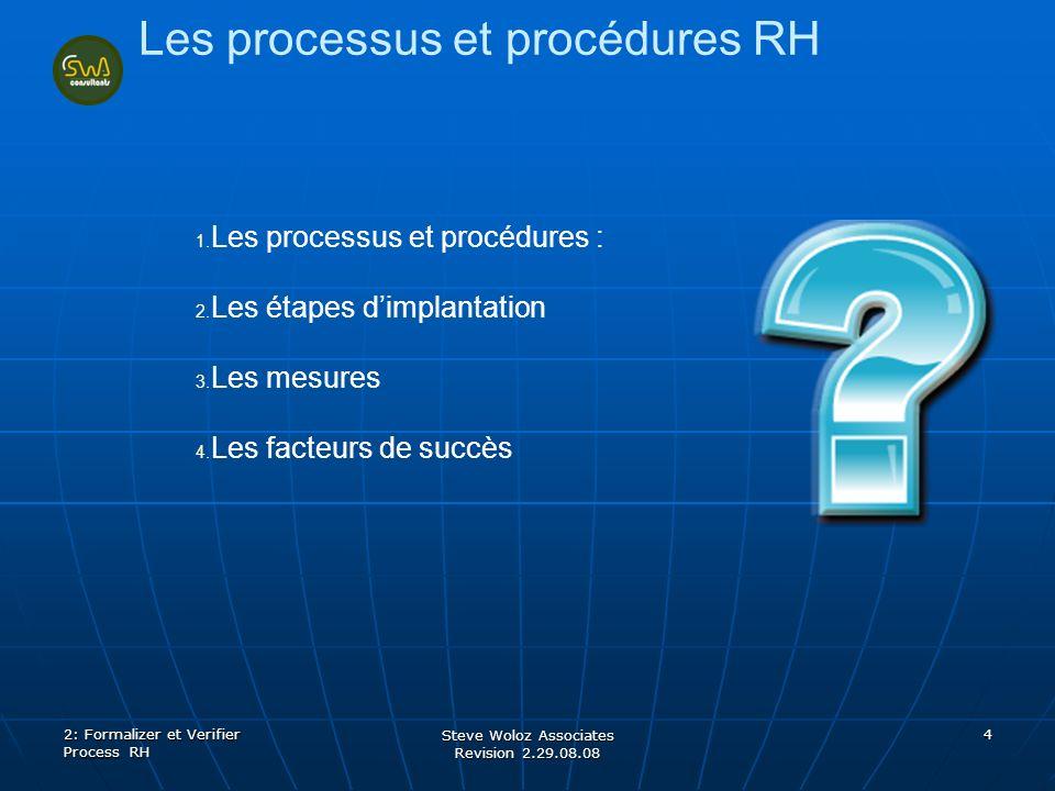 Steve Woloz Associates Revision 2.29.08.08 4 Les processus et procédures RH 1. 1. Les processus et procédures : 2. 2. Les étapes dimplantation 3. 3. L