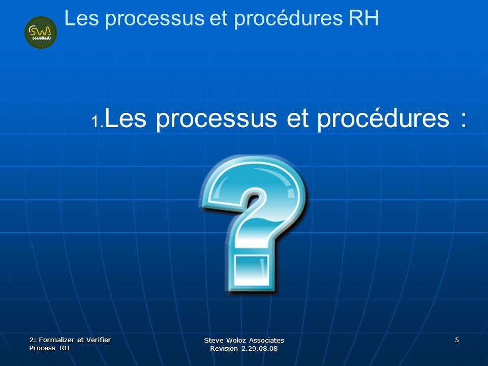 Steve Woloz Associates Revision 2.29.08.08 5 Les processus et procédures RH 1. 1. Les processus et procédures : 2: Formalizer et Verifier Process RH