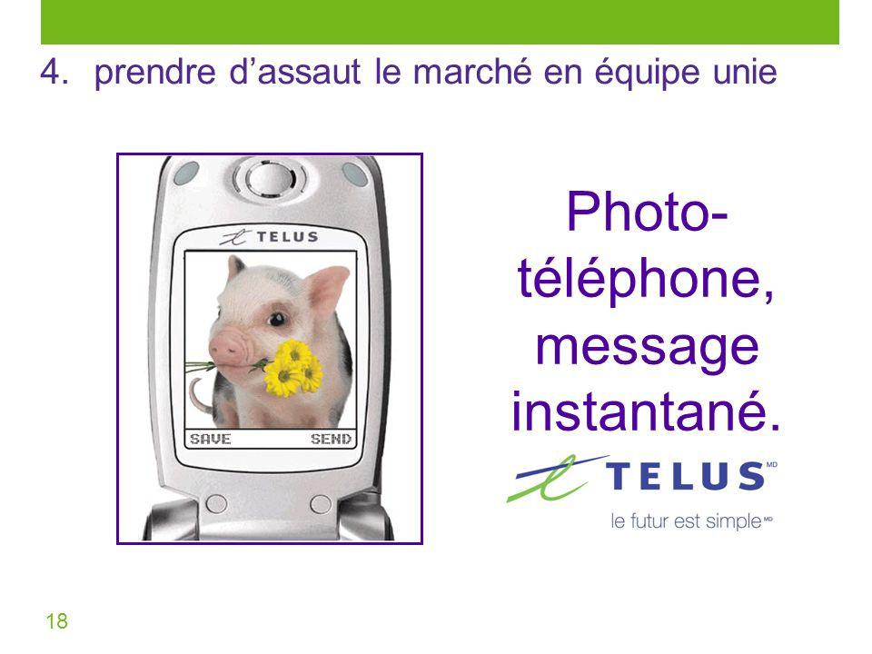 18 Photo- téléphone, message instantané. 4. prendre dassaut le marché en équipe unie