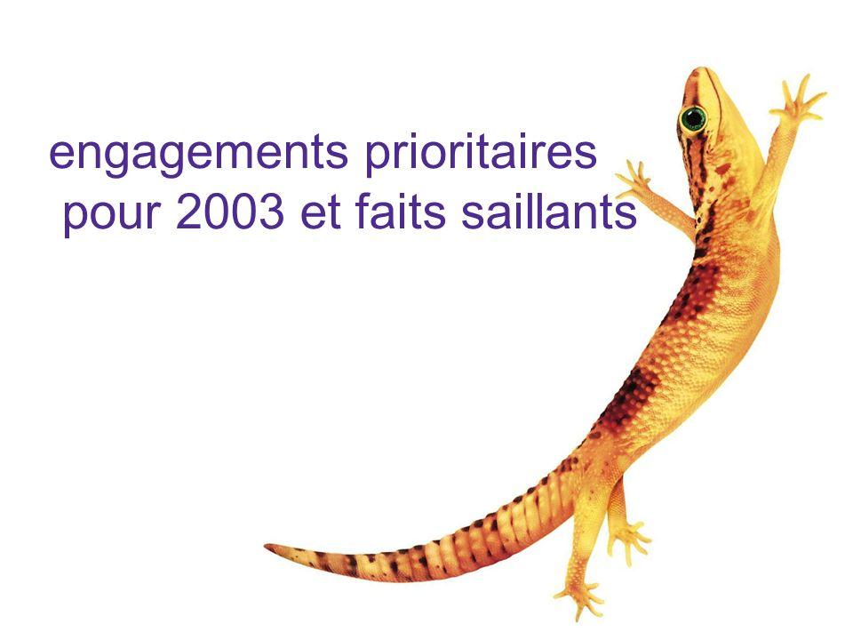 engagements prioritaires pour 2003 et faits saillants