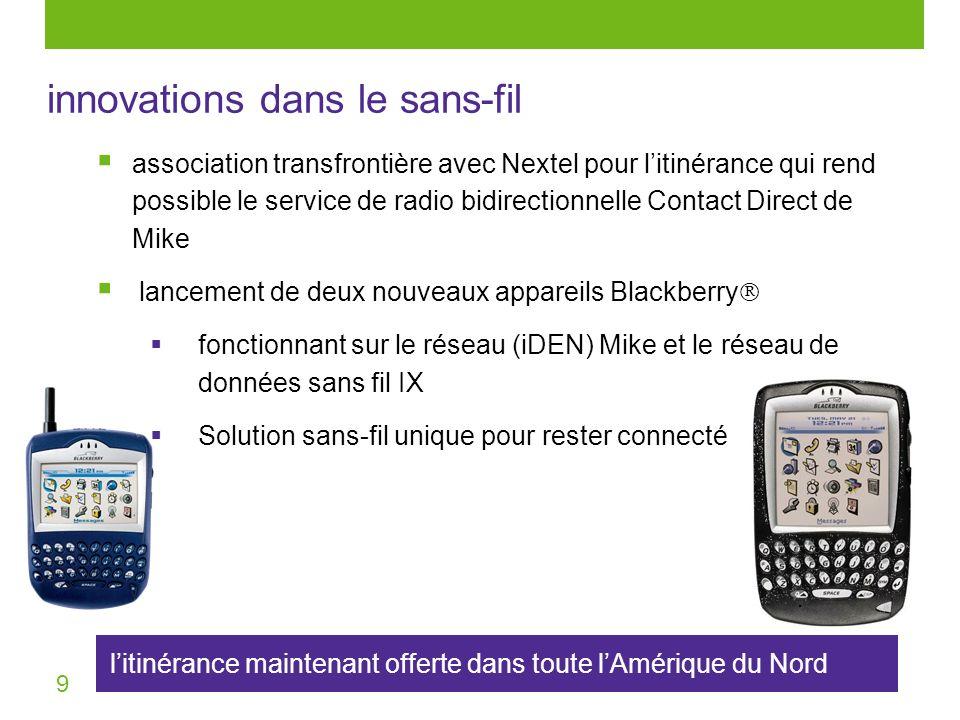 9 litinérance maintenant offerte dans toute lAmérique du Nord innovations dans le sans-fil association transfrontière avec Nextel pour litinérance qui