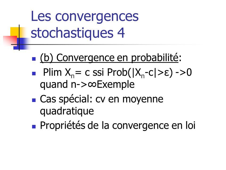 Les convergences stochastiques 4 (b) Convergence en probabilité: Plim X n = c ssi Prob(|X n -c|>ε) ->0 quand n->Exemple Cas spécial: cv en moyenne qua