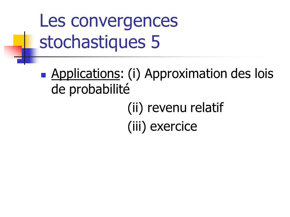 Les convergences stochastiques 5 Applications: (i) Approximation des lois de probabilité (ii) revenu relatif (iii) exercice