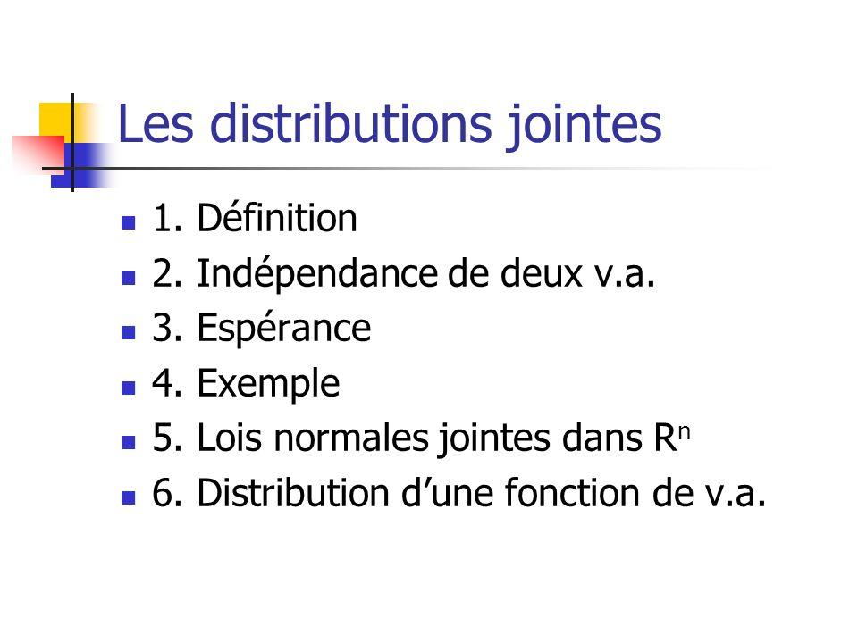 Les distributions jointes 1. Définition 2. Indépendance de deux v.a. 3. Espérance 4. Exemple 5. Lois normales jointes dans R n 6. Distribution dune fo