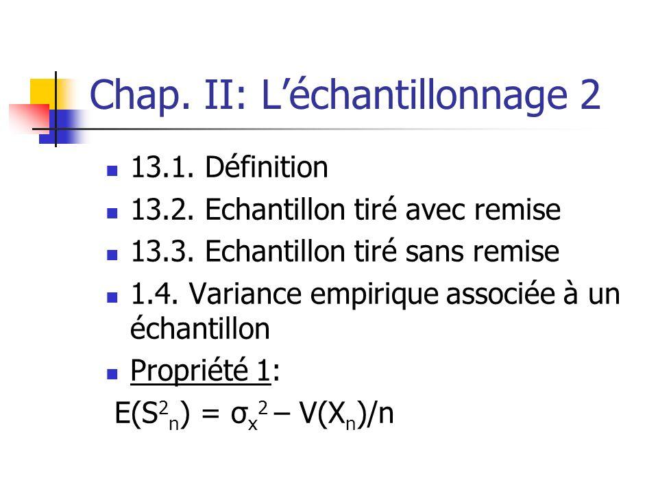 Chap. II: Léchantillonnage 2 13.1. Définition 13.2. Echantillon tiré avec remise 13.3. Echantillon tiré sans remise 1.4. Variance empirique associée à