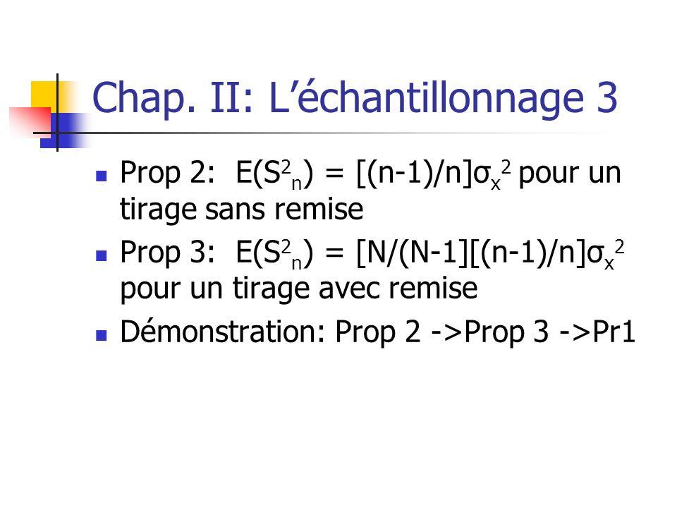 Chap. II: Léchantillonnage 3 Prop 2: E(S 2 n ) = [(n-1)/n]σ x 2 pour un tirage sans remise Prop 3: E(S 2 n ) = [N/(N-1][(n-1)/n]σ x 2 pour un tirage a