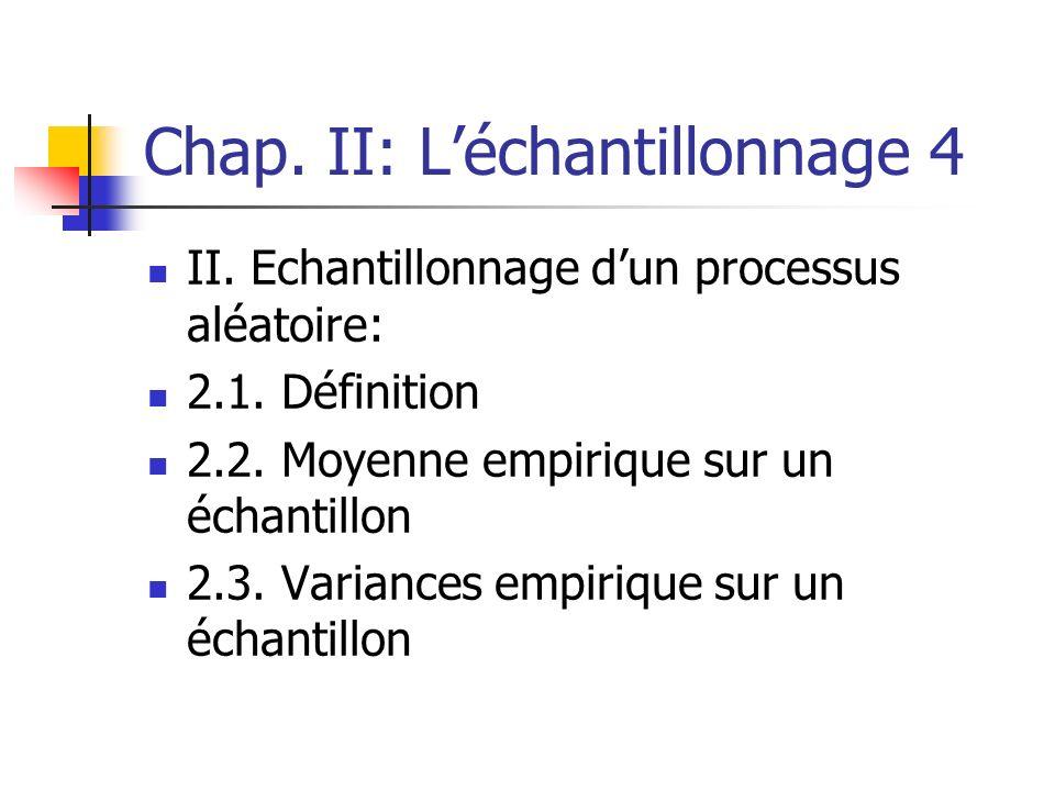 Chap. II: Léchantillonnage 4 II. Echantillonnage dun processus aléatoire: 2.1. Définition 2.2. Moyenne empirique sur un échantillon 2.3. Variances emp