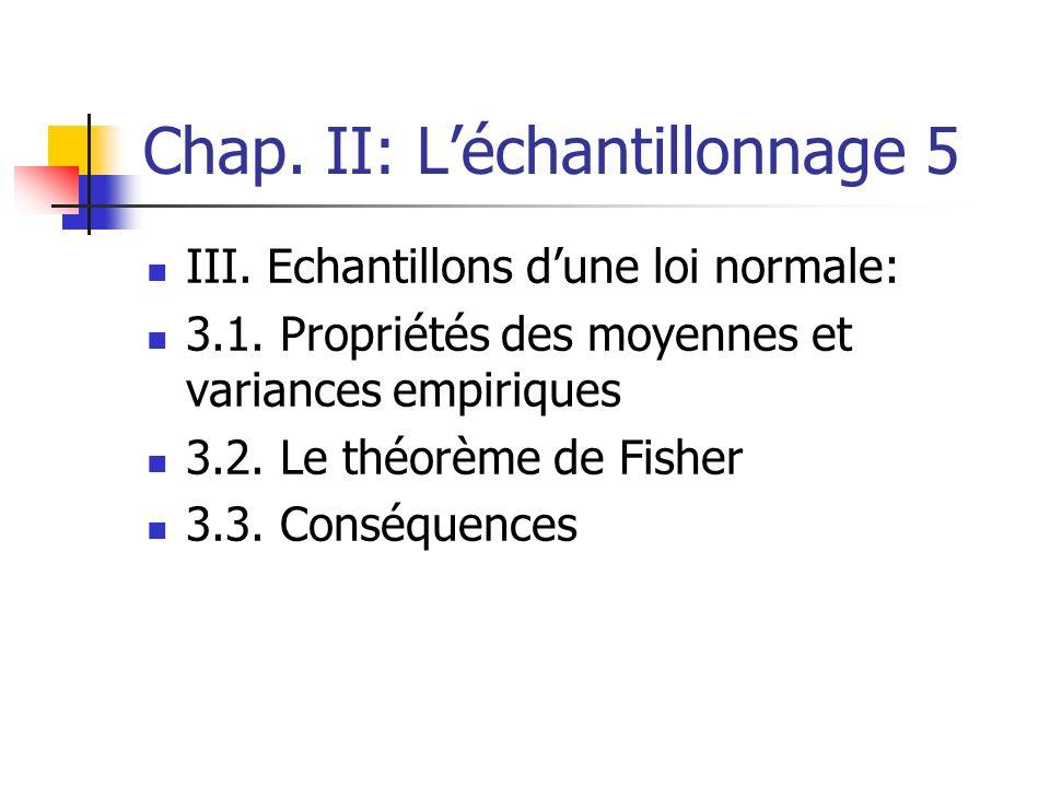 Chap. II: Léchantillonnage 5 III. Echantillons dune loi normale: 3.1. Propriétés des moyennes et variances empiriques 3.2. Le théorème de Fisher 3.3.