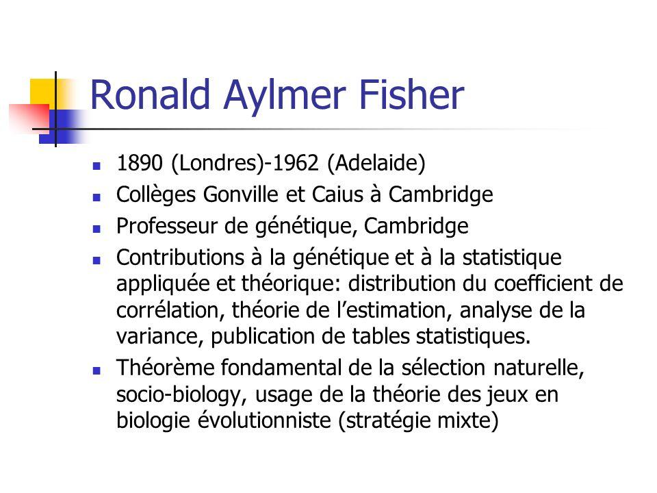 Ronald Aylmer Fisher 1890 (Londres)-1962 (Adelaide) Collèges Gonville et Caius à Cambridge Professeur de génétique, Cambridge Contributions à la génét