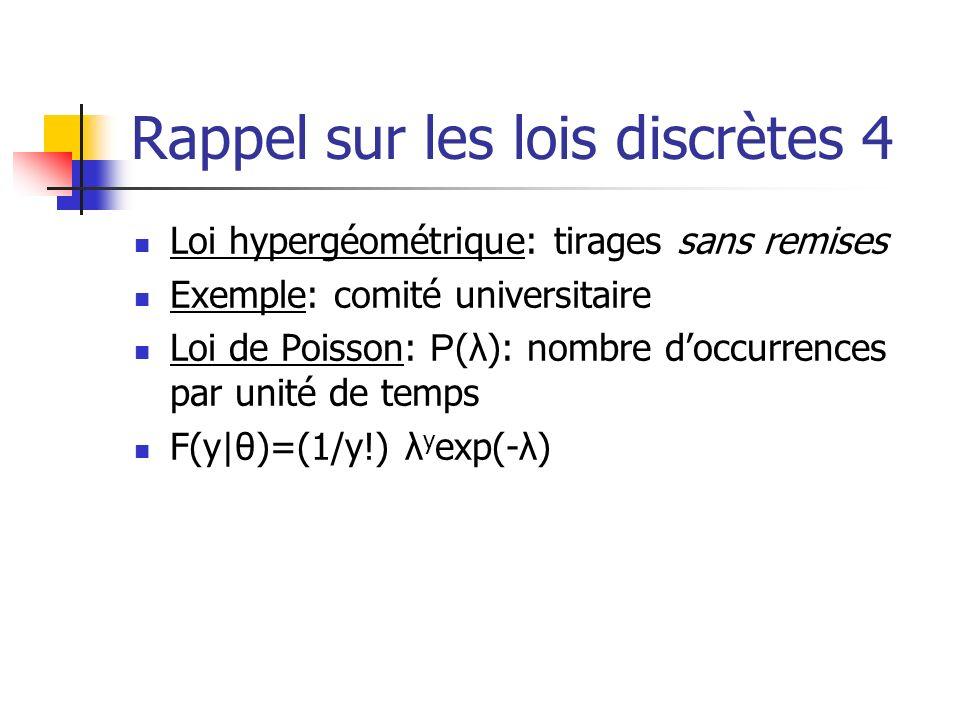 Rappel sur les lois discrètes 4 Loi hypergéométrique: tirages sans remises Exemple: comité universitaire Loi de Poisson: P (λ): nombre doccurrences pa