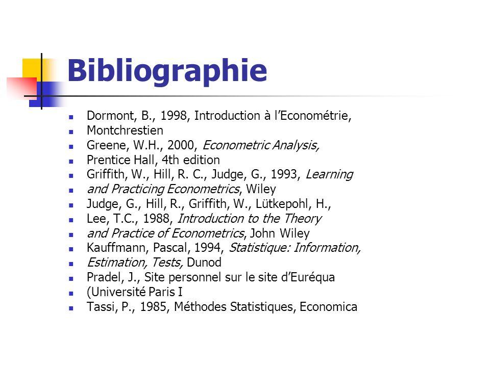Bibliographie Dormont, B., 1998, Introduction à lEconométrie, Montchrestien Greene, W.H., 2000, Econometric Analysis, Prentice Hall, 4th edition Griff