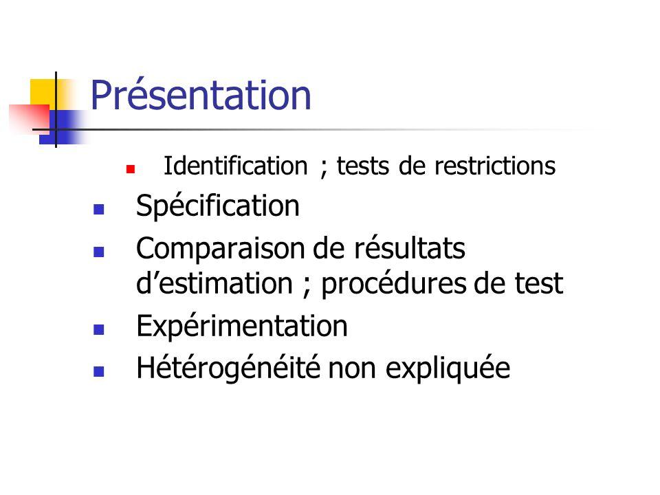 Présentation Identification ; tests de restrictions Spécification Comparaison de résultats destimation ; procédures de test Expérimentation Hétérogéné