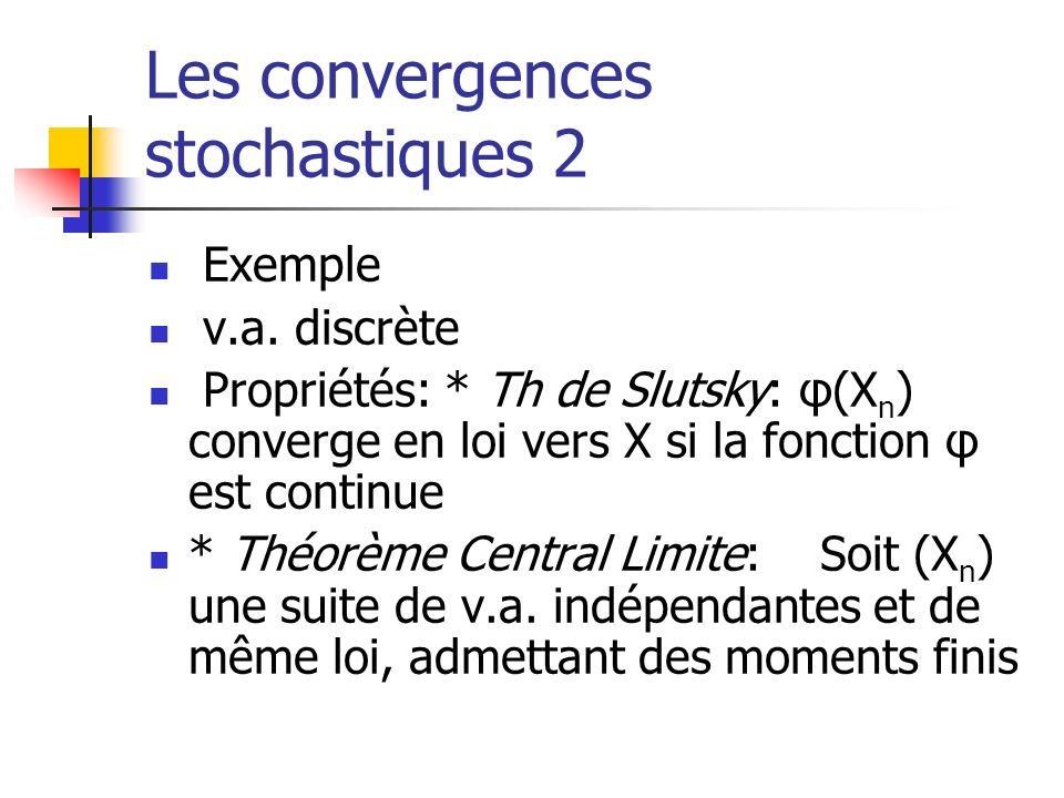 Les convergences stochastiques 2 Exemple v.a. discrète Propriétés: * Th de Slutsky: φ(X n ) converge en loi vers X si la fonction φ est continue * Thé