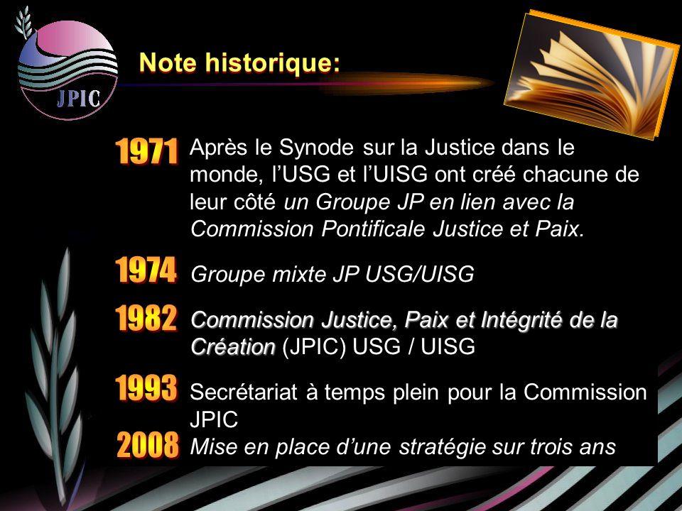 Après le Synode sur la Justice dans le monde, lUSG et lUISG ont créé chacune de leur côté un Groupe JP en lien avec la Commission Pontificale Justice et Paix.