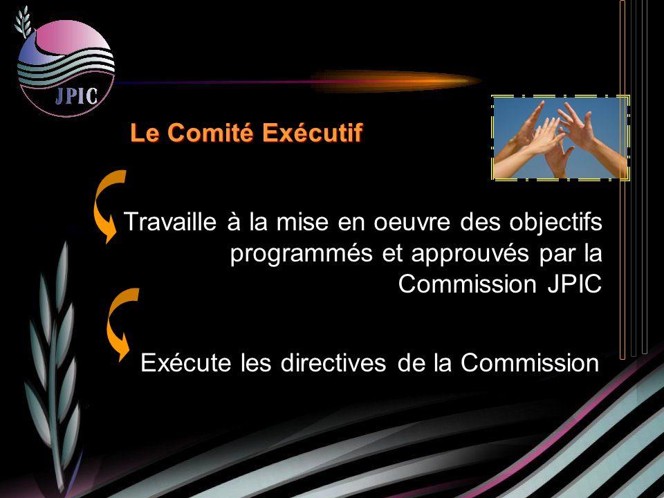 Le Comité Exécutif Exécute les directives de la Commission Travaille à la mise en oeuvre des objectifs programmés et approuvés par la Commission JPIC