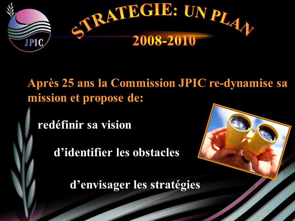 redéfinir sa vision Après 25 ans la Commission JPIC re-dynamise sa mission et propose de: denvisager les stratégies didentifier les obstacles