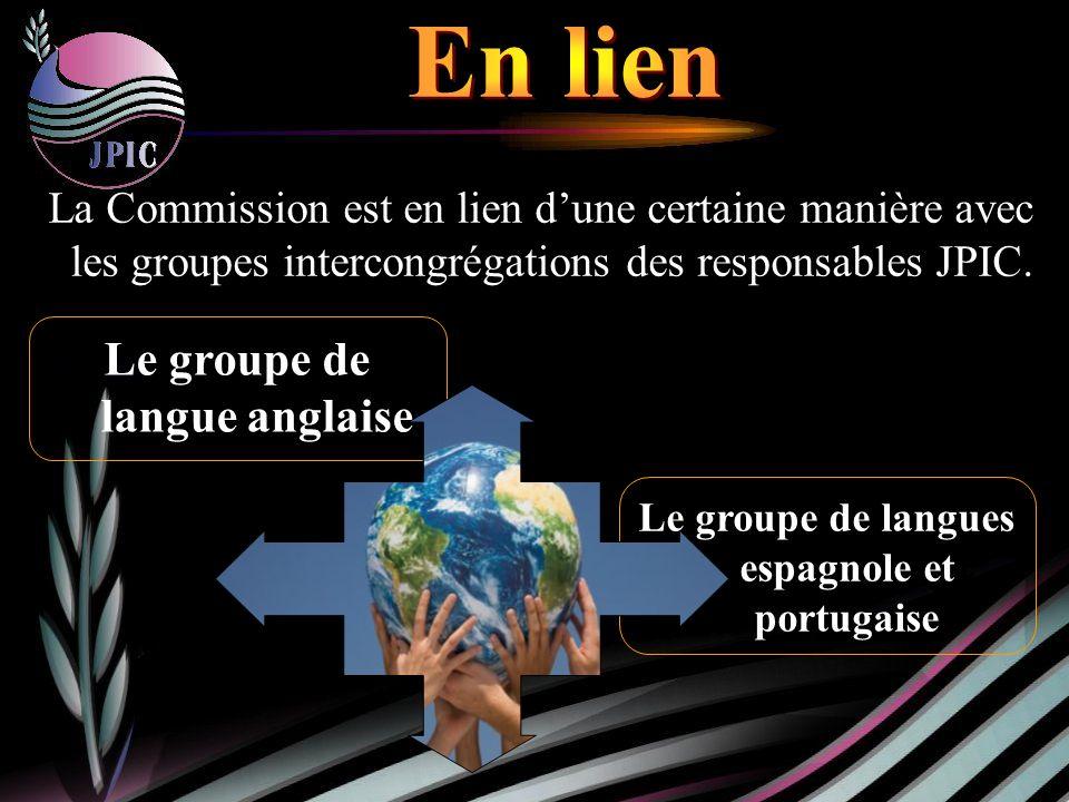 Le groupe de langues espagnole et portugaise La La Commission est en lien dune certaine manière avec les groupes intercongrégations des responsables JPIC.