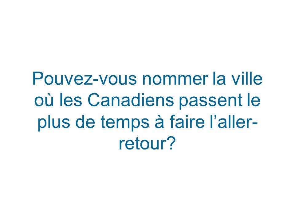 Pouvez-vous nommer la ville où les Canadiens passent le plus de temps à faire laller- retour