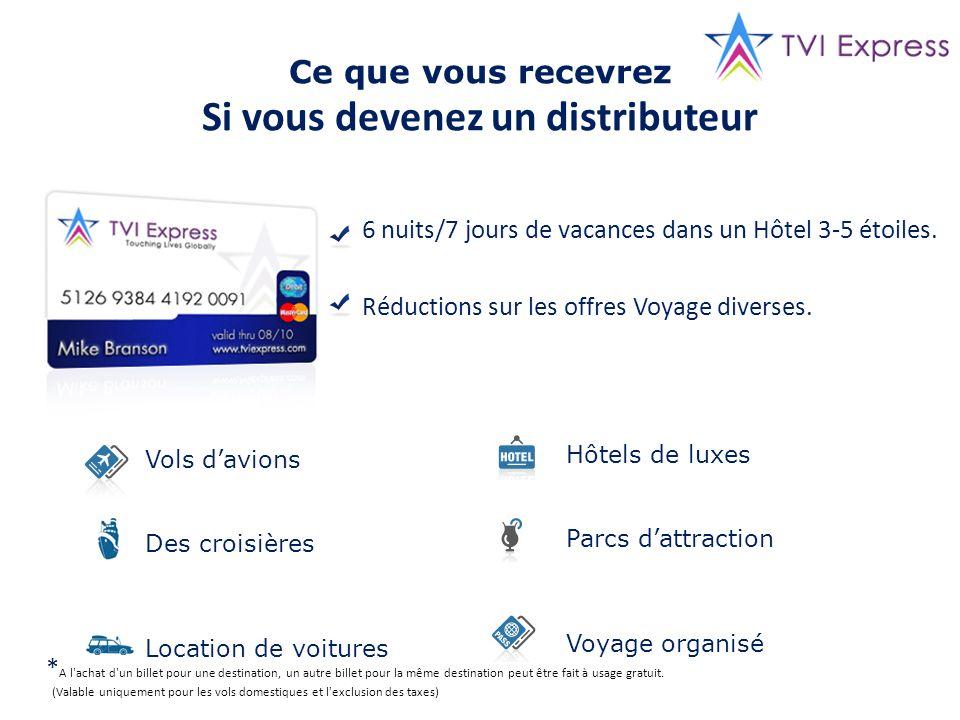 Ce que vous recevrez Si vous devenez un distributeur 6 nuits/7 jours de vacances dans un Hôtel 3-5 étoiles. Réductions sur les offres Voyage diverses.