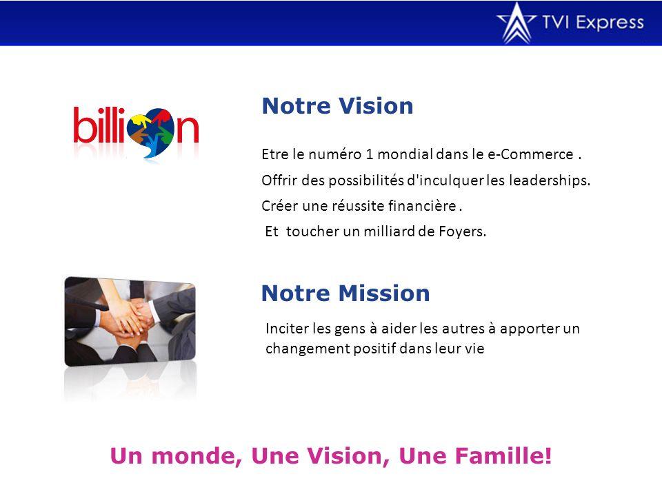 Notre Vision Un monde, Une Vision, Une Famille! Etre le numéro 1 mondial dans le e-Commerce. Offrir des possibilités d'inculquer les leaderships. Crée