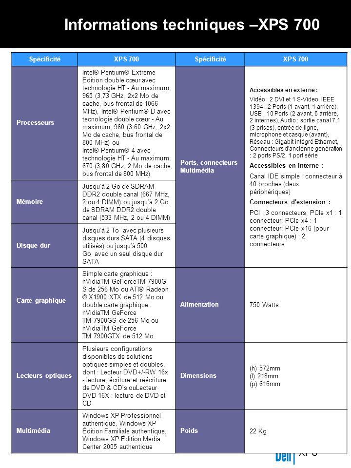 XPS Informations techniques –XPS 700 SpécificitéXPS 700SpécificitéXPS 700 Processeurs Intel® Pentium® Extreme Edition double cœur avec technologie HT - Au maximum, 965 (3,73 GHz, 2x2 Mo de cache, bus frontal de 1066 MHz), Intel® Pentium® D avec tecnologie double cœur - Au maximum, 960 (3,60 GHz, 2x2 Mo de cache, bus frontal de 800 MHz) ou Intel® Pentium® 4 avec technologie HT - Au maximum, 670 (3,80 GHz, 2 Mo de cache, bus frontal de 800 MHz) Ports, connecteurs Multimédia Accessibles en externe : Vidéo : 2 DVI et 1 S-Video, IEEE 1394 : 2 Ports (1 avant, 1 arrière), USB : 10 Ports (2 avant, 6 arrière, 2 internes), Audio : sortie canal 7.1 (3 prises), entrée de ligne, microphone et casque (avant), Réseau : Gigabit intégré Ethernet, Connecteurs d ancienne génération : 2 ports PS/2, 1 port série Accessibles en interne : Canal IDE simple : connecteur à 40 broches (deux périphériques) Connecteurs d extension : PCI : 3 connecteurs, PCIe x1 : 1 connecteur, PCIe x4 : 1 connecteur, PCIe x16 (pour carte graphique) : 2 connecteurs Mémoire Jusqu à 2 Go de SDRAM DDR2 double canal (667 MHz, 2 ou 4 DIMM) ou jusqu à 2 Go de SDRAM DDR2 double canal (533 MHz, 2 ou 4 DIMM) Disque dur Jusqu à 2 To avec plusieurs disques durs SATA (4 disques utilisés) ou jusqu à 500 Go avec un seul disque dur SATA Carte graphique Simple carte graphique : nVidiaTM GeForceTM 7900G S de 256 Mo ou ATI® Radeon ® X1900 XTX de 512 Mo ou double carte graphique : nVidiaTM GeForce TM 7900GS de 256 Mo ou nVidiaTM GeForce TM 7900GTX de 512 Mo Alimentation750 Watts Lecteurs optiques Plusieurs configurations disponibles de solutions optiques simples et doubles, dont : Lecteur DVD+/-RW 16x - lecture, écriture et réécriture de DVD & CD s ouLecteur DVD 16X : lecture de DVD et CD Dimensions (h) 572mm (l) 218mm (p) 616mm Multimédia Windows XP Professionnel authentique, Windows XP Édition Familiale authentique, Windows XP Édition Media Center 2005 authentique Poids22 Kg