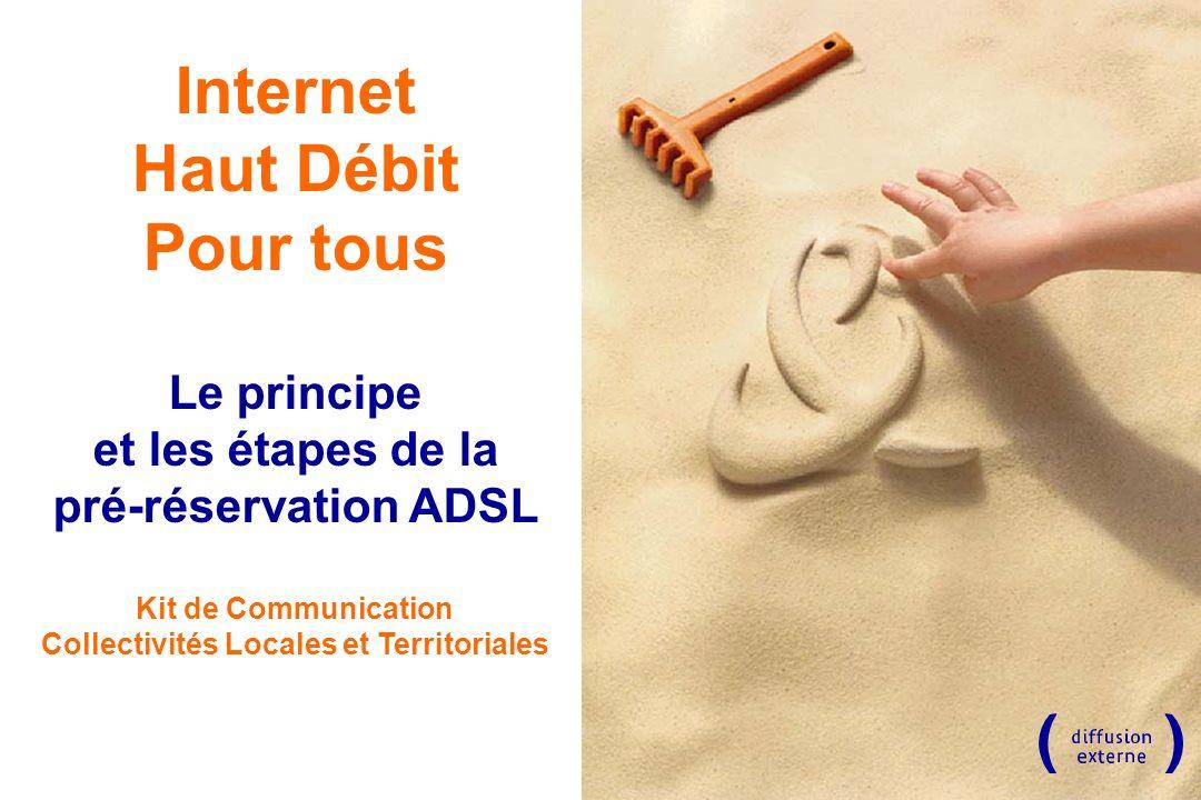 Internet Haut Débit Pour tous Le principe et les étapes de la pré-réservation ADSL Kit de Communication Collectivités Locales et Territoriales