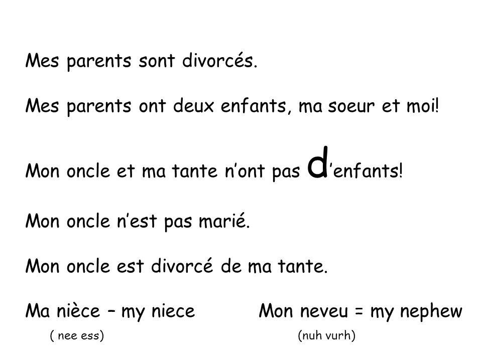 Mes parents sont divorcés. Mes parents ont deux enfants, ma soeur et moi! Mon oncle et ma tante nont pas d enfants! Mon oncle nest pas marié. Mon oncl