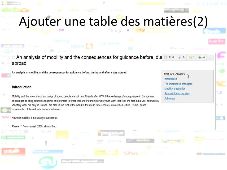 Ajouter une table des matières(2)